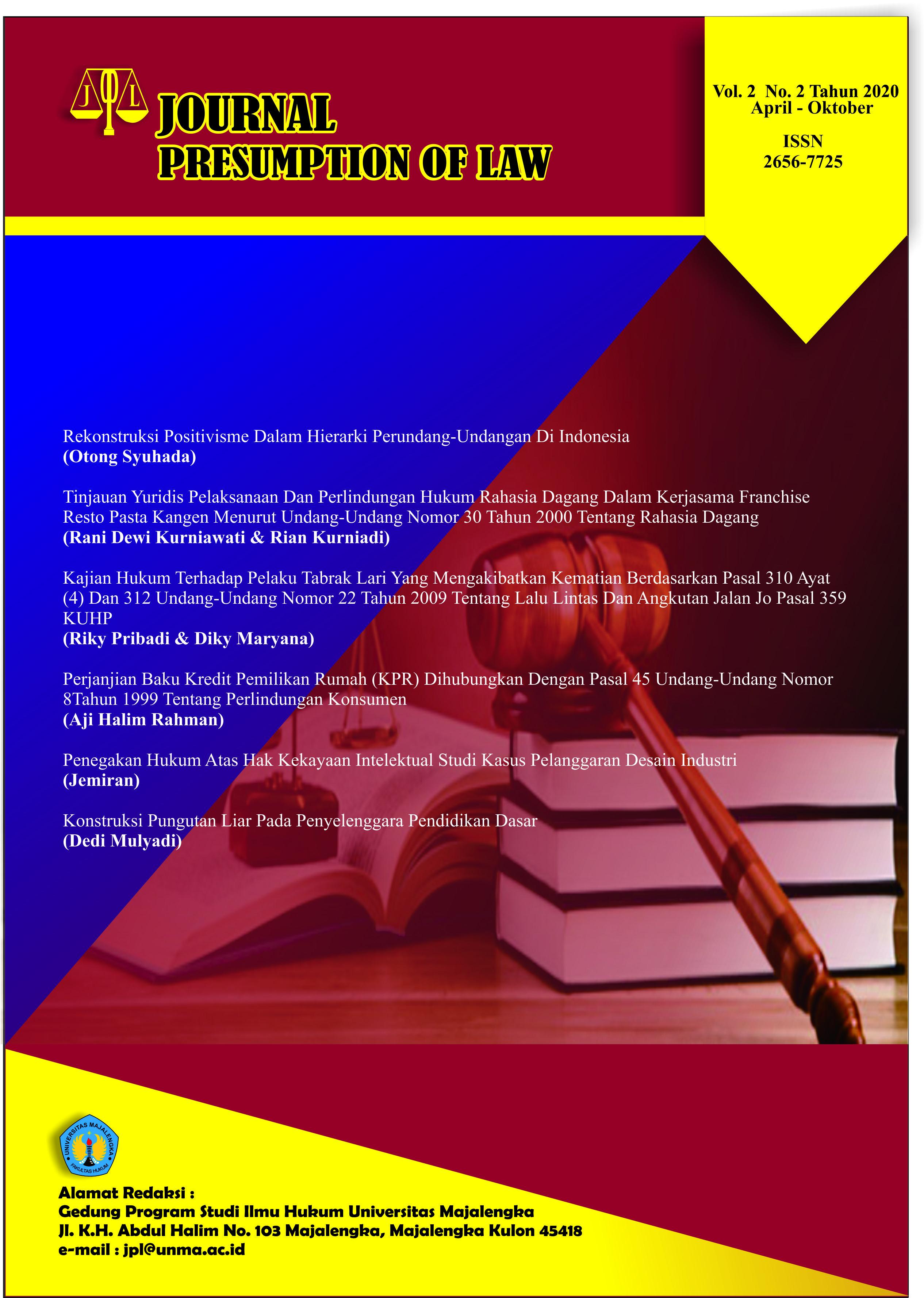 Vol 2 No 2 (2020): Volume 2 Nomor 2 Tahun 2020   Journal Presumption of Law